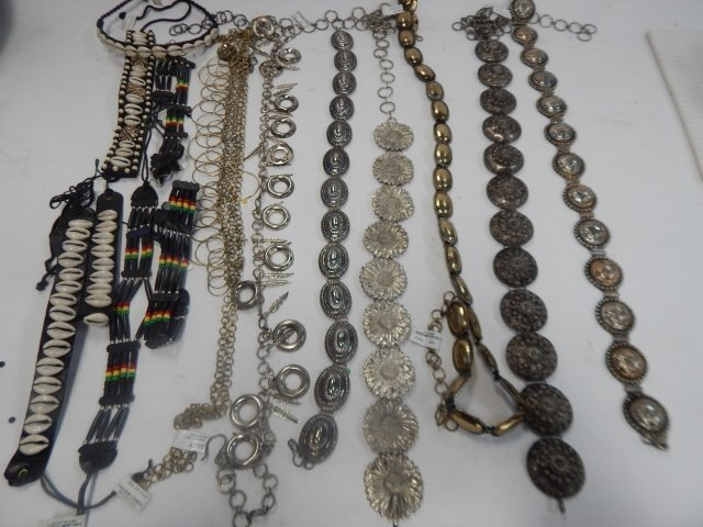 LOT OF BELTS AND NECKLACES