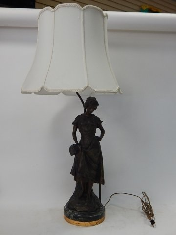 LARGE FIGURAL LAMP ON MARBLE BASE