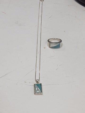 STERLING SILVER NECKLACE AND RING