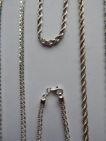 TWO STERLING SILVER NECKLACES AND 2 BRACELETS - 2