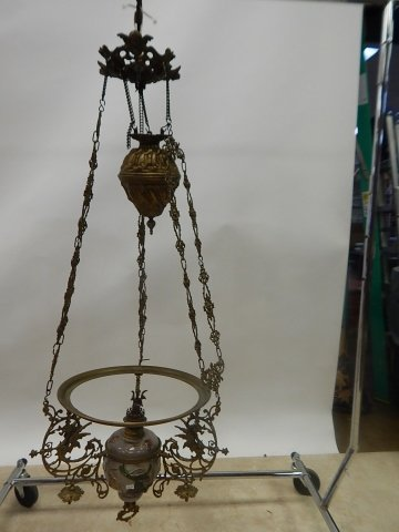 VICTORIAN PULL DOWN FIXTURE WITH WINGED GRIFFINS