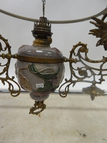 VICTORIAN PULL DOWN FIXTURE WITH WINGED GRIFFINS - 3