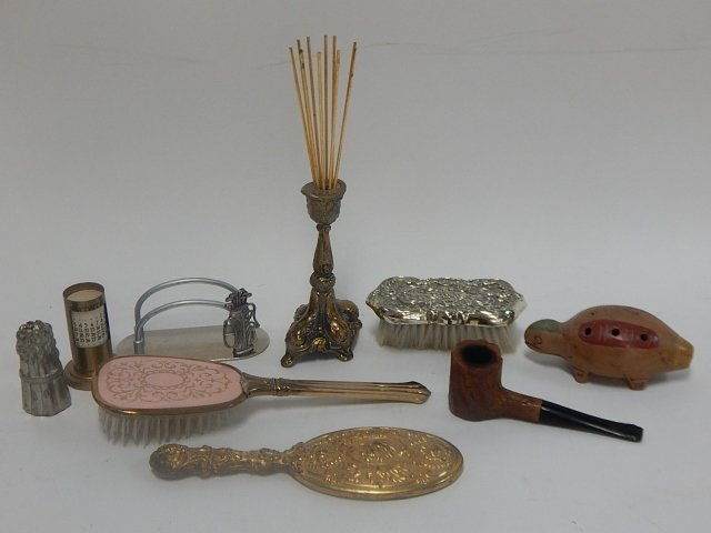 LOT OF BRUSHES, MIRROR, DESK ORGANIZER
