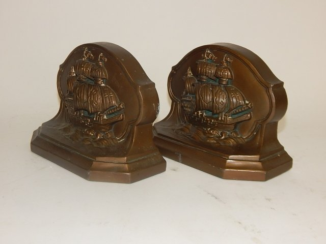 PAIR OF SHIP BOOKENDS