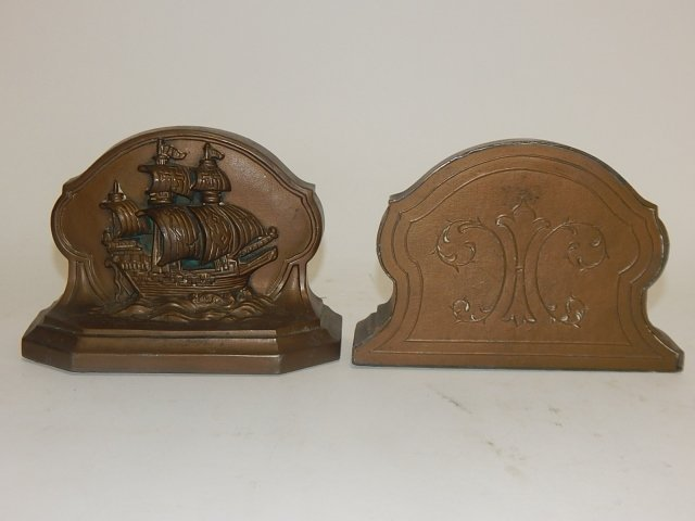 PAIR OF SHIP BOOKENDS - 2