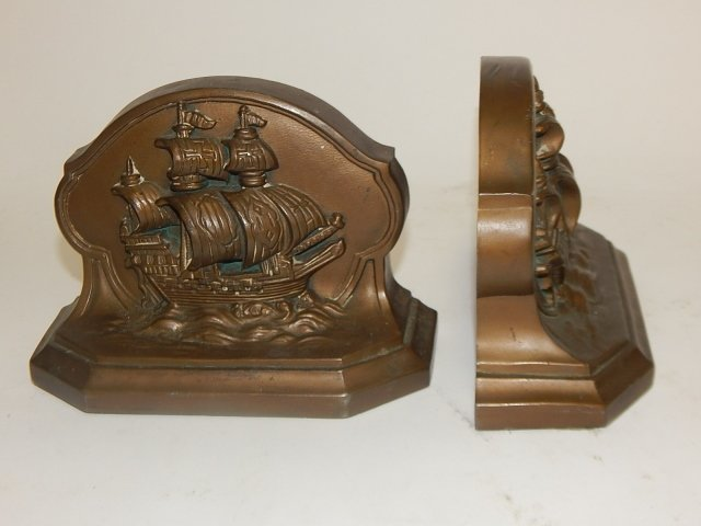 PAIR OF SHIP BOOKENDS - 3