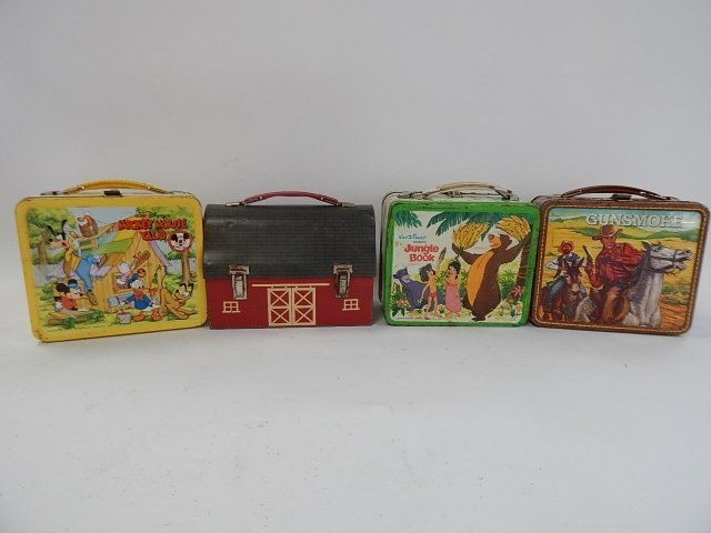 FOUR TIN LUNCH BOXES