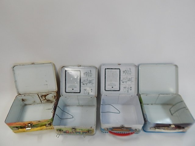 FOUR TIN LUNCH BOXES - 4