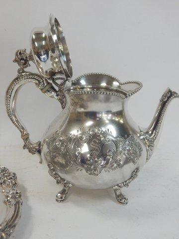 SILVER PLATE TEA SET - 3