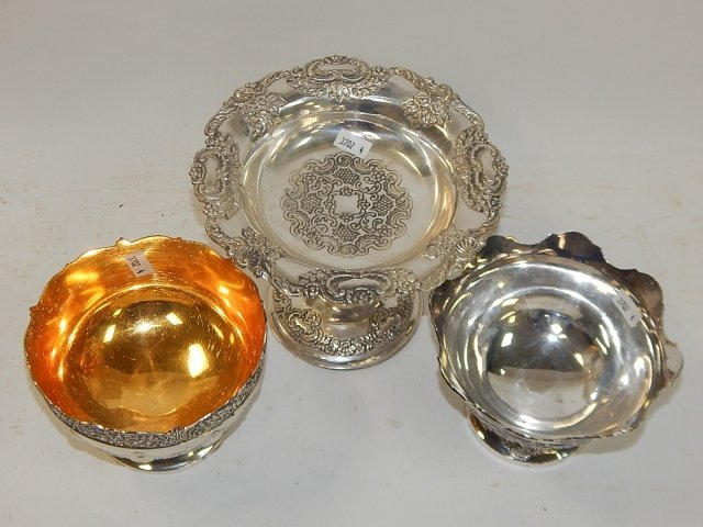 SILVER PLATE COMPOTE AND BOWLS. - 2
