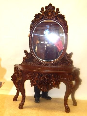 HEAVILY CARVED CONSOLE WITH MIRROR