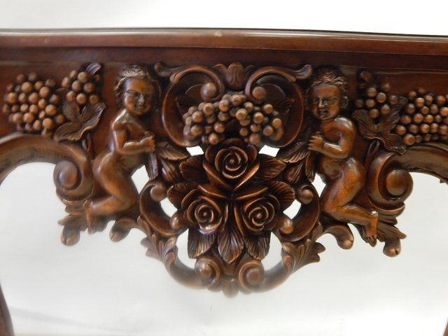 HEAVILY CARVED CONSOLE WITH MIRROR - 6