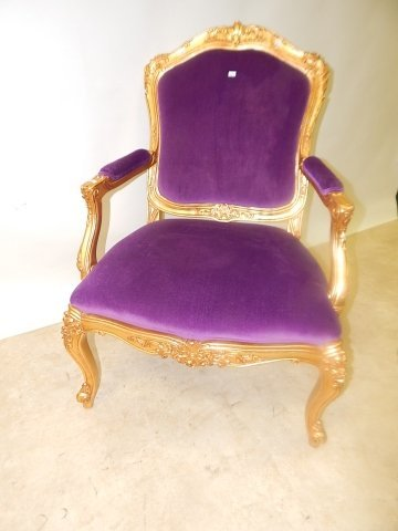 GOLD FINISH FRENCH CARVED CHAIR