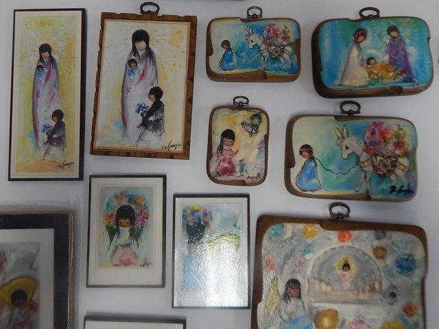 LARGE LOT OF DE GRAZIA PAINTED BLOCKS AND DISHES - 7