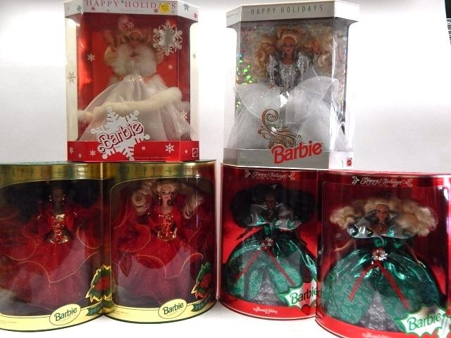 6 HOLIDAY BARBIES