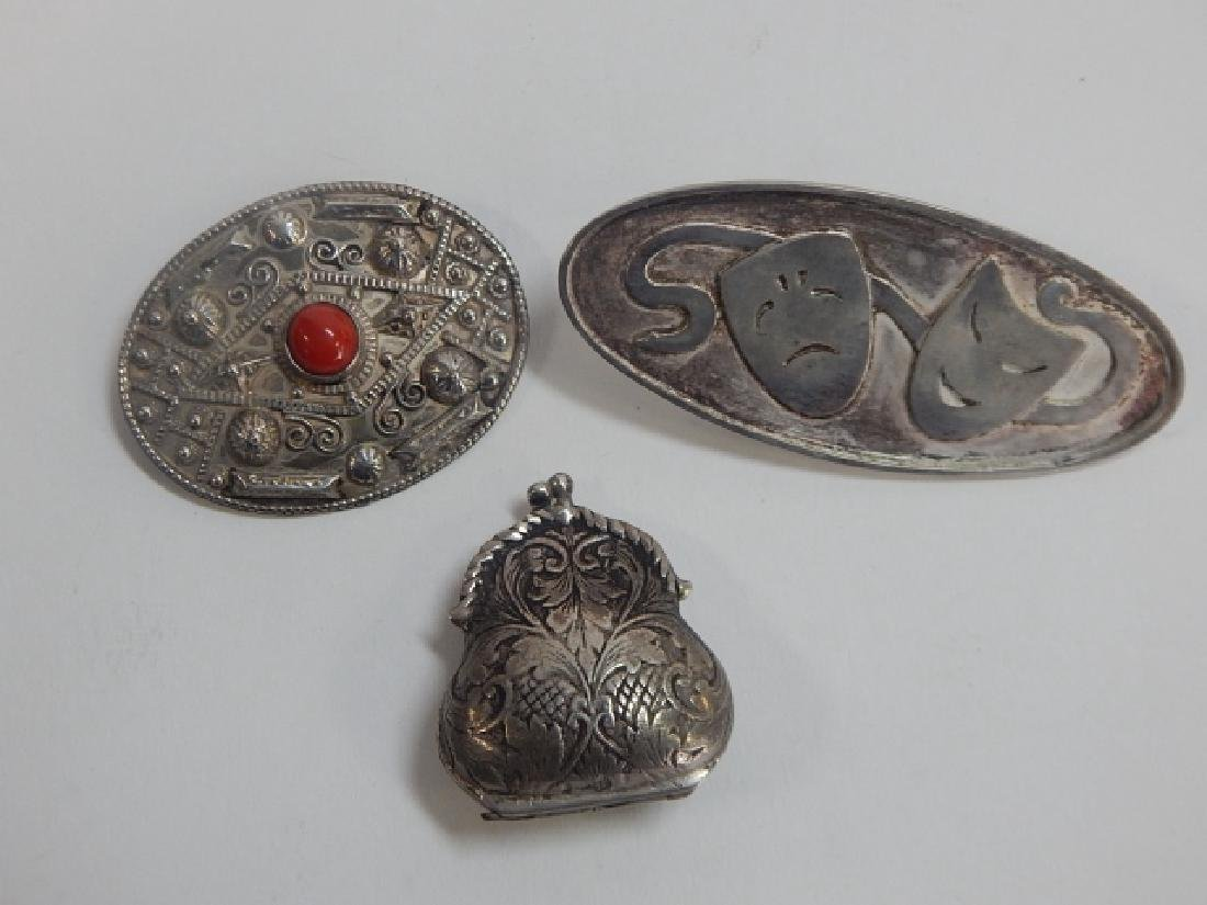 STERLING SILVER PIN, BELT CLIP, AND TRINKET PURSE