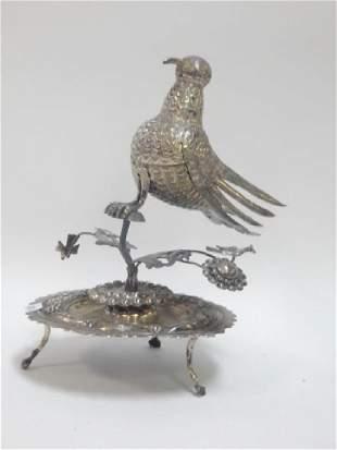 SILVER PLATE SERVING BIRD