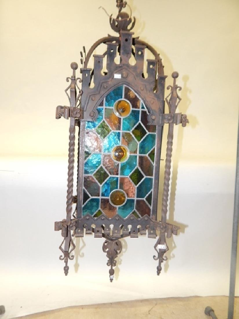 IRON AND STAIN GLASS HANGING FIXTURE