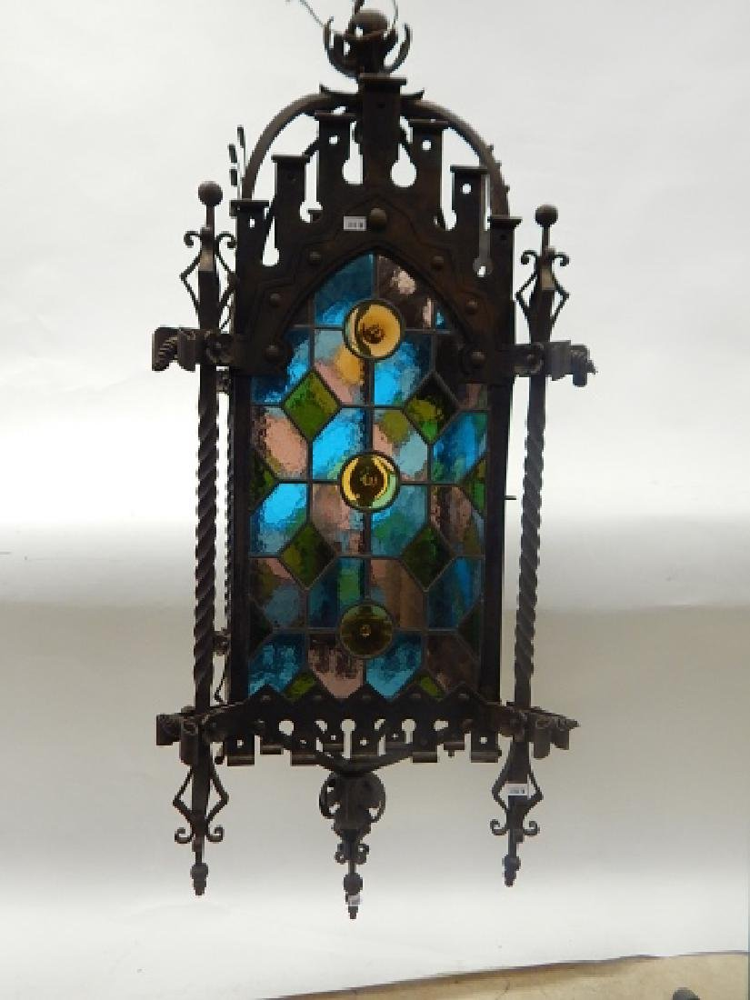 IRON AND STAIN GLASS HANGING FIXTURE - 2