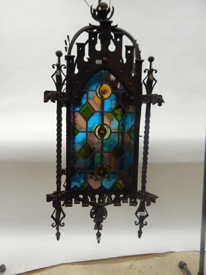 IRON AND STAIN GLASS HANGING FIXTURE - 3