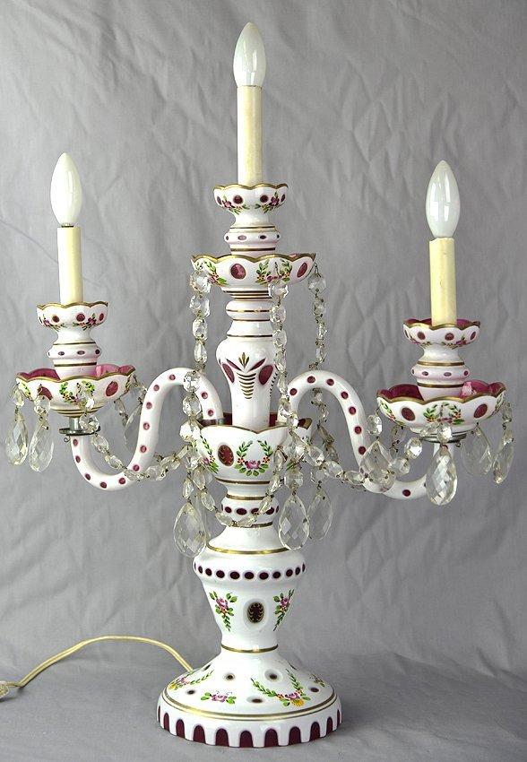 Bohemian glass candlebra