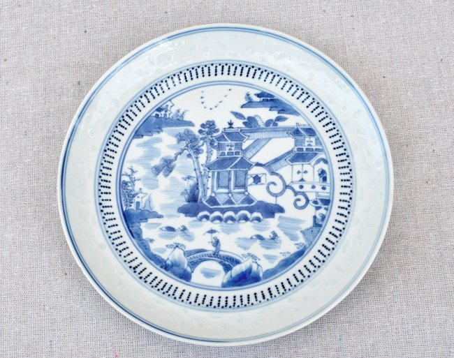 Antique Chinese Blue & White Dish