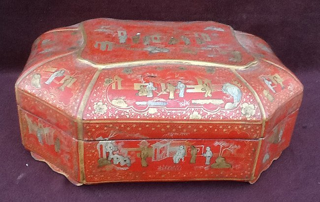 Red Gold Lacquer Export Rectangular Box