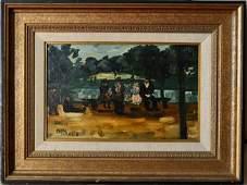 Oil painting on wood pane