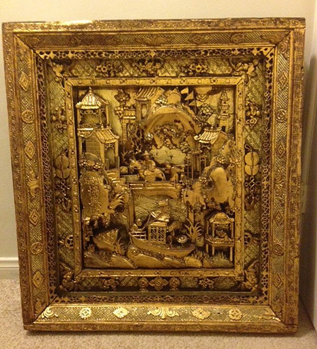 Antique 3 Dimensional Wood Gold Leaf Court Scene Plaque