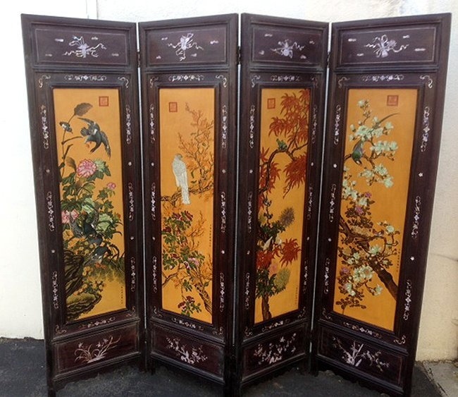 Set of Unique Quality Flowers 4 Panels Floor Screen