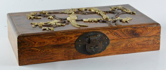 Old Chinese Hai-Nan Huanghuali Corved with Ivory Box