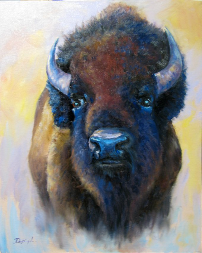 Liang DanPing's Bison Oil Painting