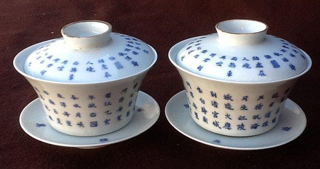 Pair of Blue &White Tea Cup