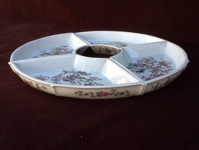 Set of Famille Rose Fan shape tray