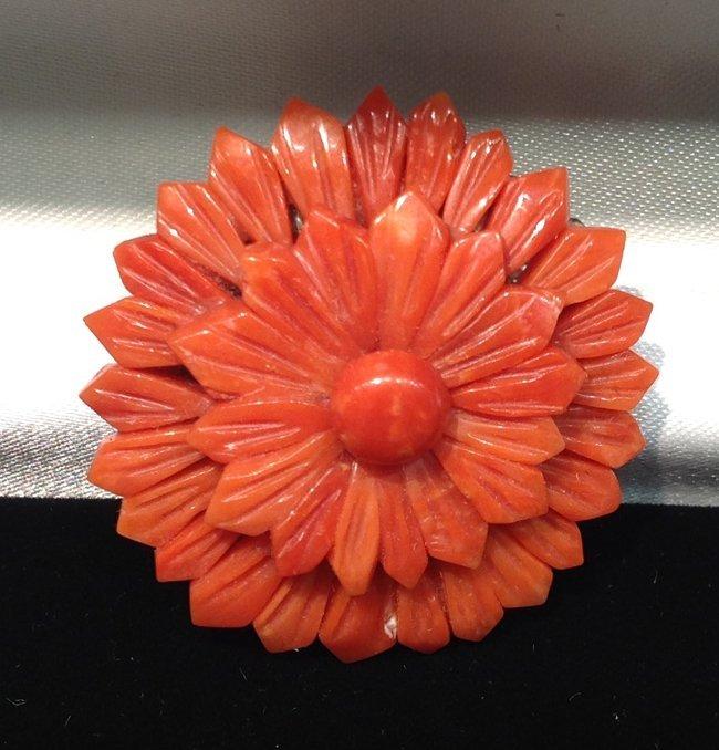 Natural Red Coral Pin
