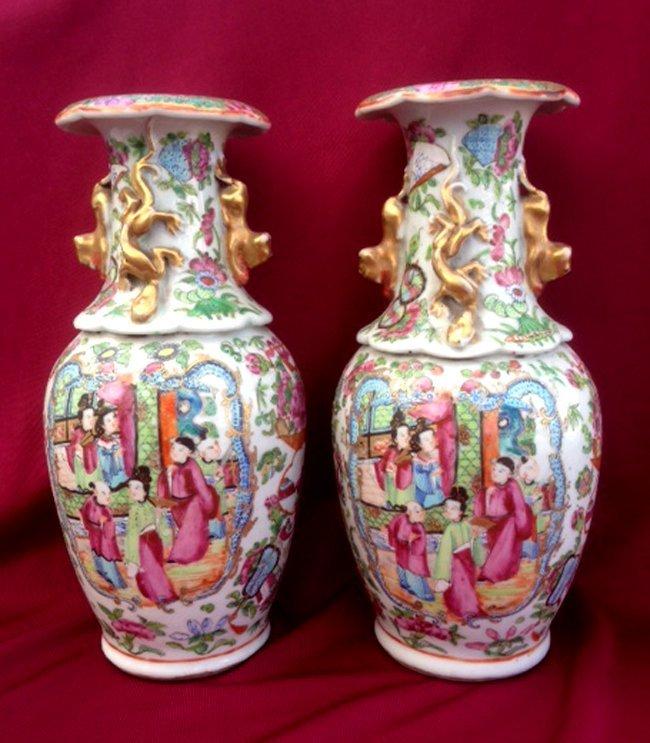 Pair of Antique Mandarin Rose Vase