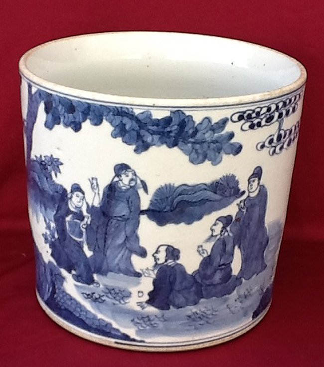 Blue & White Figural Brush Pot
