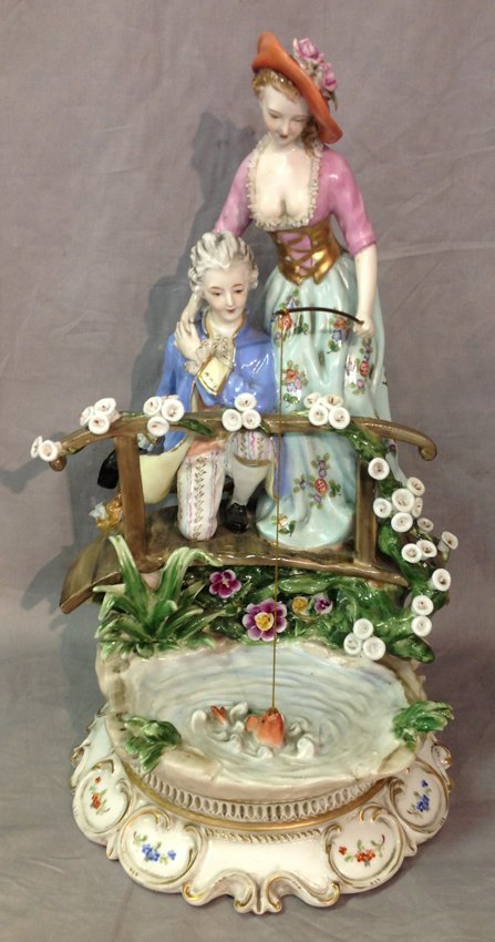 Antique Porcelain Two Ladies Fishing