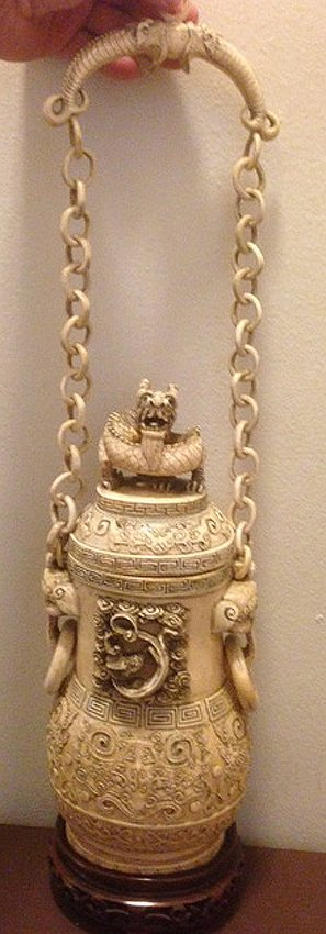 Antique Ivory Heavily Carved Dragon Cover Jar