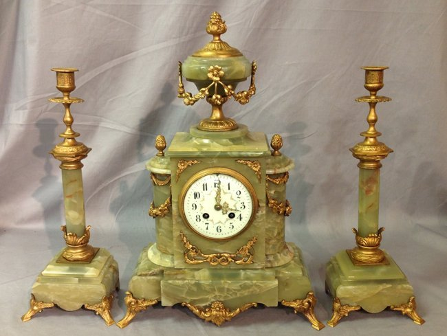 French Green Marble & Bronze Clock