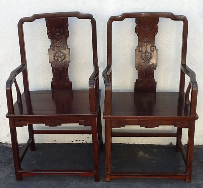 2 Chinese Antique Rosewood Arm Chairs