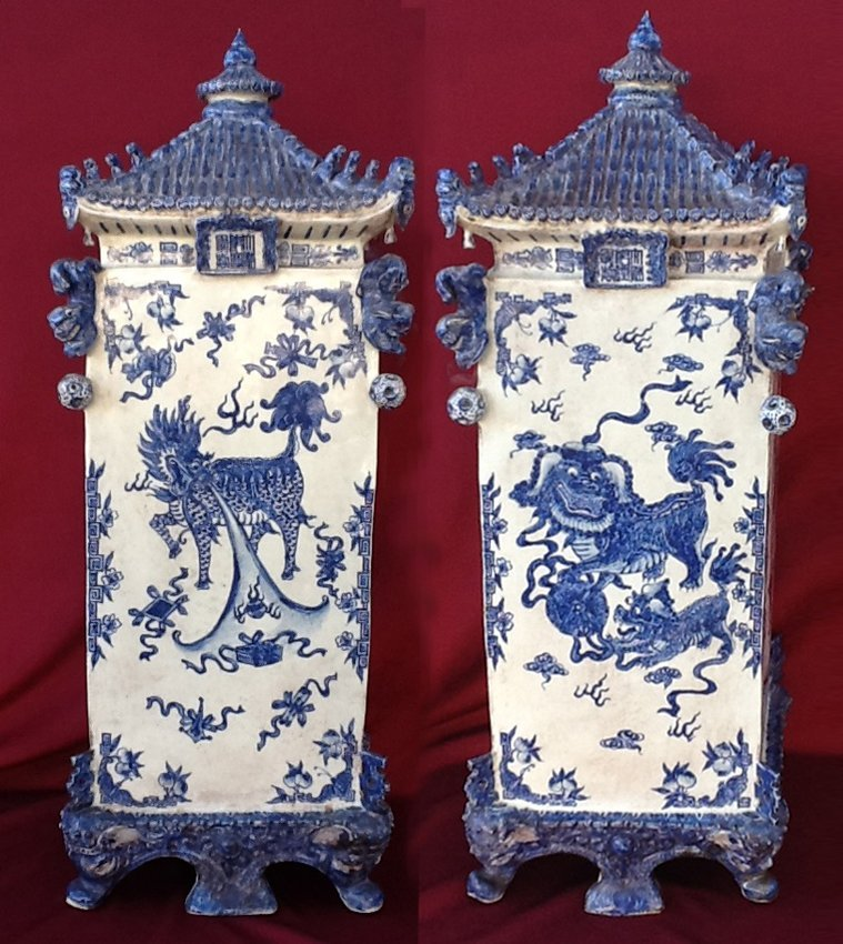 Pair of Blue & White Square Pagoda