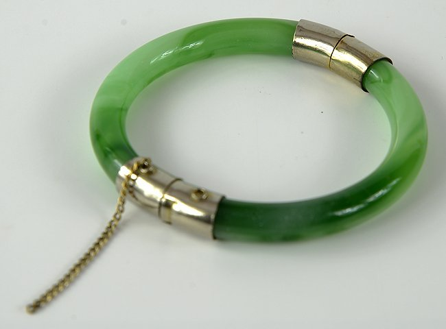 Chinese jade and silver bracelet