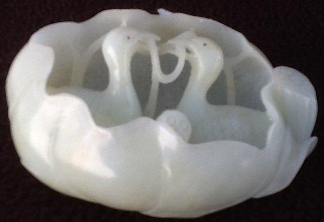 Nephrite White Jade Mandarin Duck in Lotus