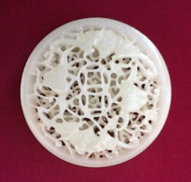 White Jade Carved Round Pendant