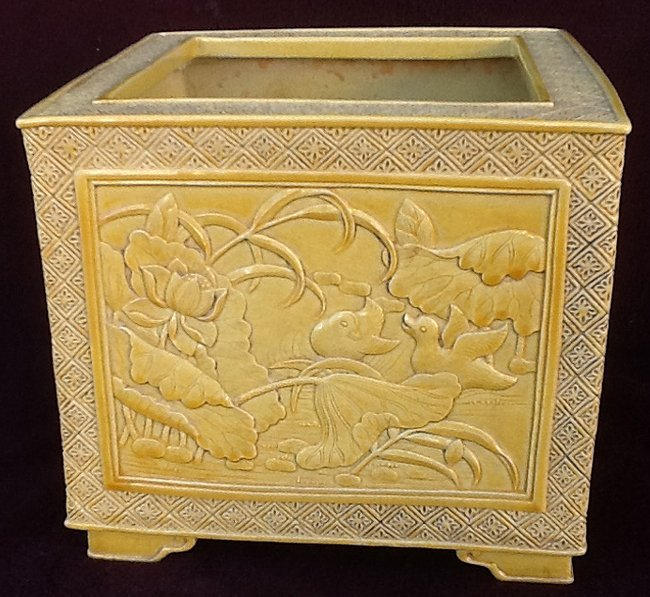 Yellow Glazed Carved Square pot