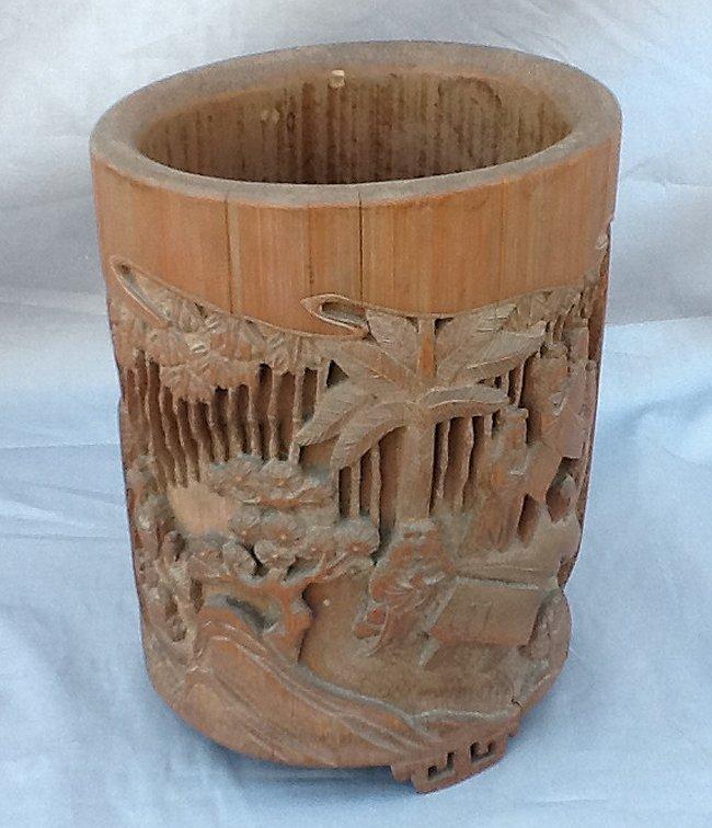 Bamboo Carved Scholars Brush Pot
