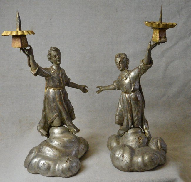 18th C. Antique Italian Silver Wood Candle holders