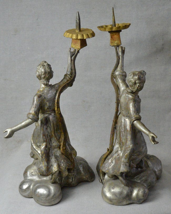 18th C. Antique Italian Silver Wood Candle holders - 6