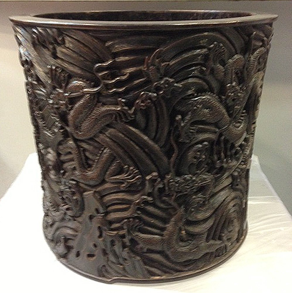 Zitan heavy carved dragon in water brush holder